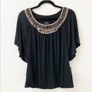 AGB Blouse Bat Wing Embellished Neck